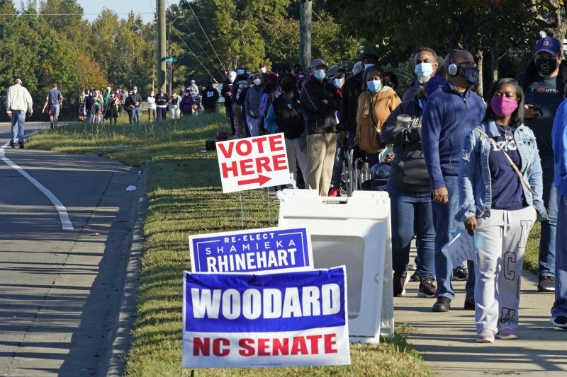 Some early voters in Durham North Carolina waited almost three hours to vote. Source: AP