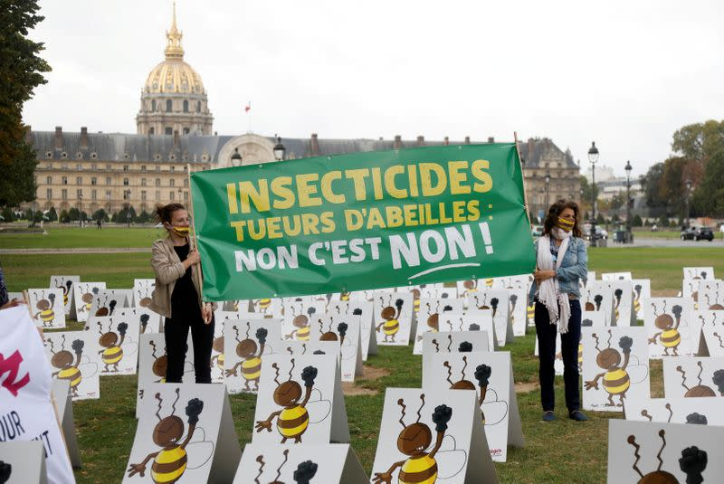 FILE PHOTO: Protest against government proposal to lift a ban on neonicotinoids in Paris