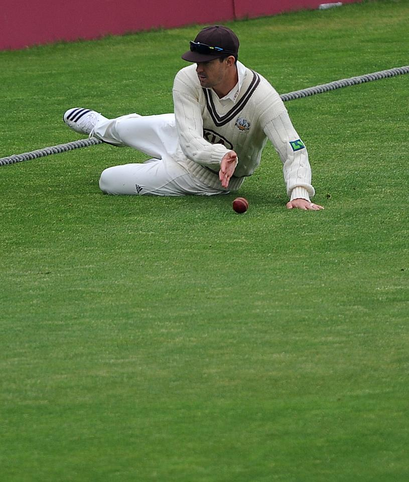 Surrey's Kevin Pietersen fields on the boundary edge during day one of the LV County Championship match at Headingley Cricket Ground, Leeds.