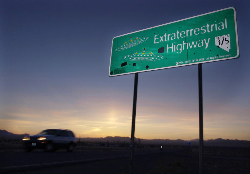 A car moves along the Extraterrestrial Highway near Rachel, Nev, the closest town to Area 51. (Photo: Laura Rauch/AP)