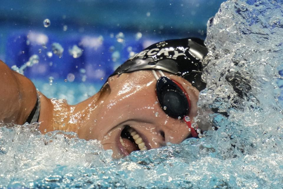 Katie Ledecky participates in the women's 1500 freestyle during wave 2 of the U.S. Olympic Swim Trials on Wednesday, June 16, 2021, in Omaha, Neb. (AP Photo/Charlie Neibergall)