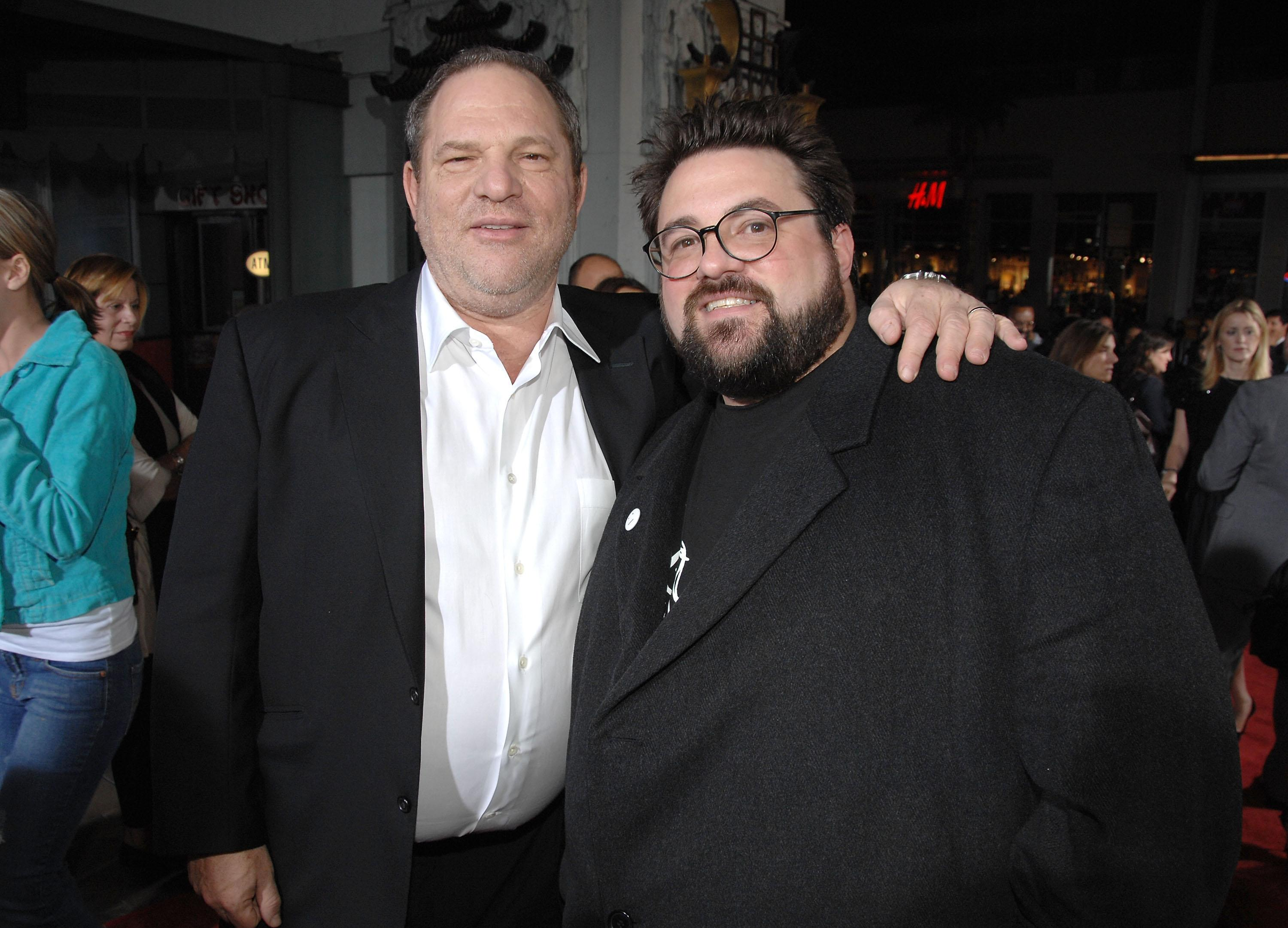 "HOLLYWOOD - OCTOBER 20: Producer Harvey Weinstein and writer/director Kevin Smith arrive to the Weinstein Co. premiere of ""Zack & Miri Make A Porno"" at Grauman's Chinese Theatre on October 20, 2008 in Hollywood, California. (Photo by John Shearer/WireImage)"