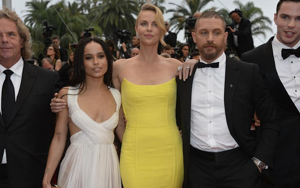 Zoe Kravitz, Charlize Theron, Tom Hardy and Nicholas Hoult attending the Fury Road premiere in Cannes, May 2015 - Getty