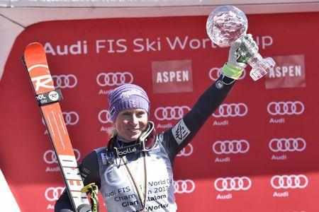 Mar 19, 2017; Aspen, CO, USA; Tessa Worley of France holds the crystal globe after the women's giant slalom alpine skiing race in the 2017 Audi FIS World Cup Finals at Aspen Mountain. Mandatory Credit: Michael Madrid-USA TODAY Sports