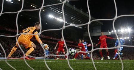 Britain Soccer Football - Liverpool v AFC Bournemouth - Premier League - Anfield - 5/4/17 Bournemouth's Joshua King scores their second goal Action Images via Reuters / Jason Cairnduff Livepic