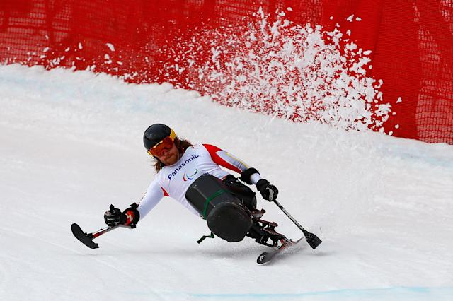 SOCHI, RUSSIA - MARCH 08: Caleb Brousseau of Canada competes in the Men's Downhill Sitting during day one of Sochi 2014 Paralympic Winter Games at Rosa Khutor Alpine Center on March 8, 2014 in Sochi, Russia. (Photo by Tom Pennington/Getty Images)