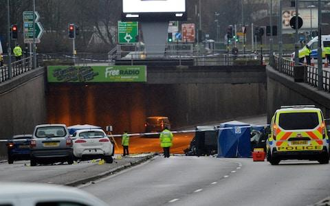 The scene on Lee Bank Middleway in Birmingham - Credit: SWNS.com