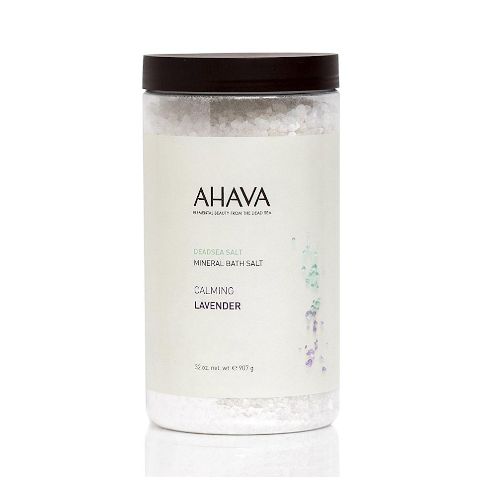 <p>Nothing will soothe her aching muscles and help calm her nerves before bed like a soak in a tub filled with aromatic, therapeutic <span>AHAVA Dead Sea Salts</span> ($24). </p>