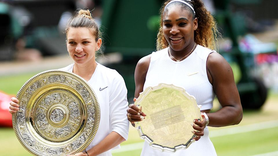Simona Halep and Serena Williams, pictured here after the 2019 Wimbledon final.
