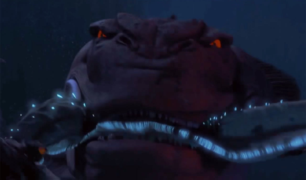 <p>Qui-Gon and Obi-Wan barely raise an eyebrow, seconds after having their submersible come within inches of being a mutant sea creature's breakfast. Luckily, the fish beast pursuing them is eaten by a bigger fish. Then the exact same thing happens again. That's not luck, that's just terrible writing.</p>