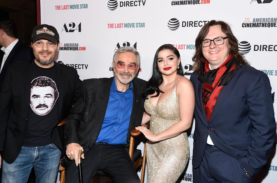 Director Adam Rifkin, Burt Reynolds, Ariel Winter, and Clark Duke attend the Los Angeles premiere of 'The Last Movie Star' at the Egyptian Theatre on March 22, 2018 in Hollywood, California. (Photo by Michael Tullberg/Getty Images.)