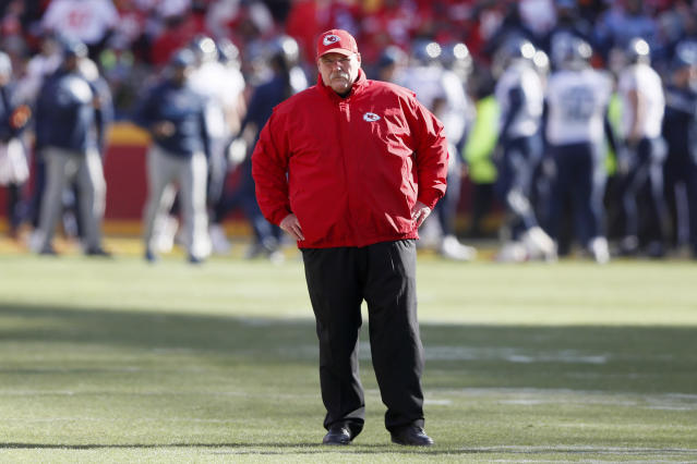 Kansas City Chiefs head coach Andy Reid watches warm ups before the NFL AFC Championship football game against the Tennessee Titans Sunday, Jan. 19, 2020, in Kansas City, MO. (AP Photo/Charlie Neibergall)