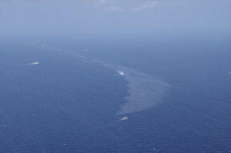 The oil spill from a stricken Iranian tanker Sanchi that sank on Sunday is seen in the East China Sea