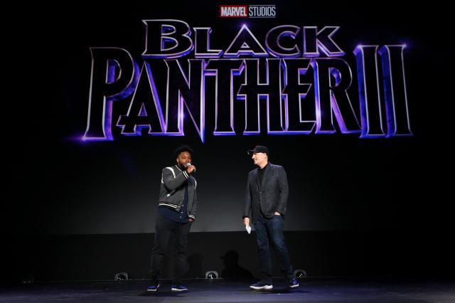 ANAHEIM, CALIFORNIA - AUGUST 24: (L-R) Ryan Coogler of 'Black Panther 2' and President of Marvel Studios Kevin Feige took part today in the Walt Disney Studios presentation at Disney's D23 EXPO 2019 in Anaheim, Calif.  'Black Panther 2' will be released in U.S. theaters on May 6, 2020. (Photo by Jesse Grant/Getty Images for Disney)