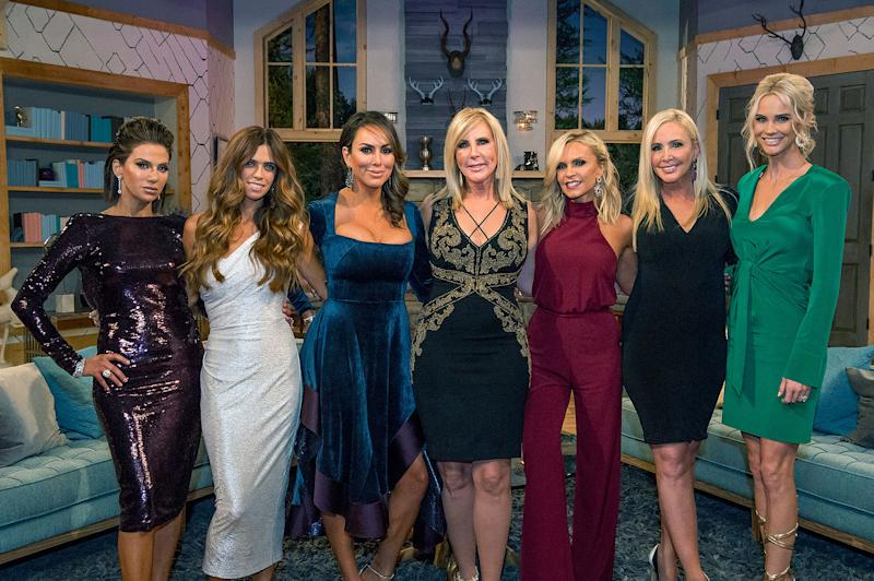 Peggy Sulahian, Lydia McLaughlin, Kelly Dodd, Vicki Gunvalson, Shannon Beador, and Meghan King Edmonds