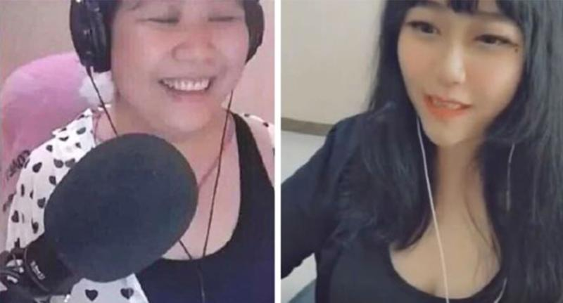 A middle-aged vlogger has been exposed after using a beauty filter. [Photo: Douyu]