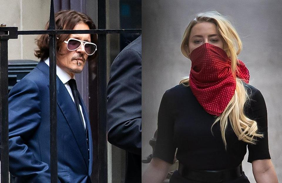 Johnny Depp and Amber Heard arrive at court in London for his libel trial against the Sun. (Photo: Getty Images)