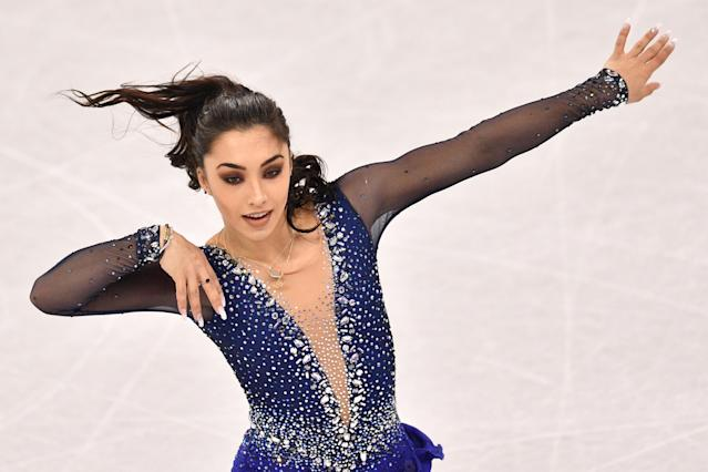 <p>Canada's Gabrielle Daleman competes in the women's single skating free skating of the figure skating event during the Pyeongchang 2018 Winter Olympic Games at the Gangneung Ice Arena in Gangneung on February 23, 2018. / AFP PHOTO / Mladen ANTONOV (Photo credit should read MLADEN ANTONOV/AFP/Getty Images) </p>