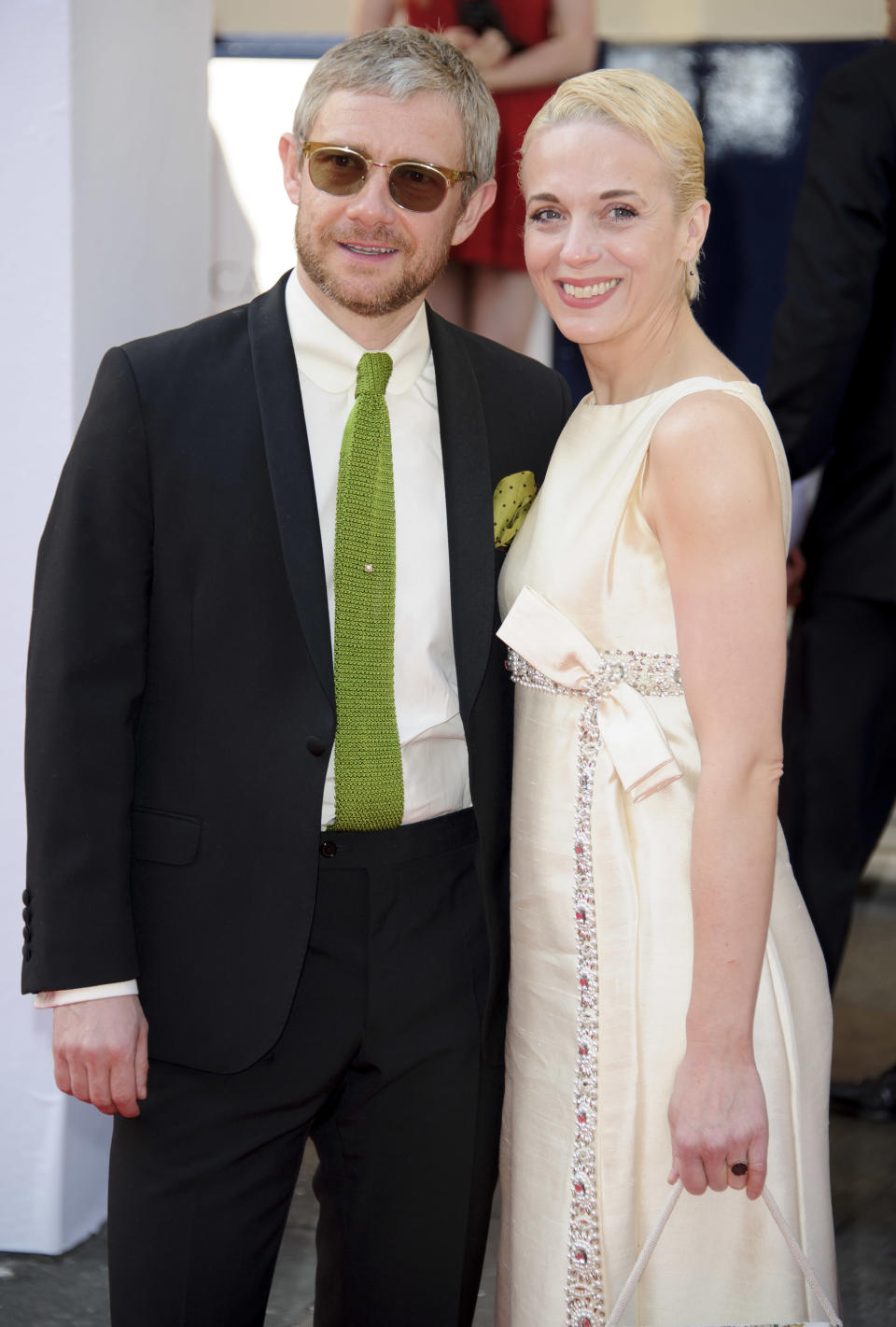 British actors Martin Freeman and Amanda Abbington arrive for the British Academy Television Awards at a central London venue, Sunday, May 18, 2014. (Photo by Jonathan Short/Invision/AP)
