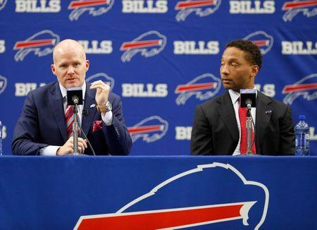 Jan 13, 2017; Orchard Park, NY, USA; Buffalo Bills head coach Sean McDermott (left) speaks during a press conference as general manager Doug Whaley looks on at AdPro Sports Training Center. Mandatory Credit: Kevin Hoffman-USA TODAY Sports