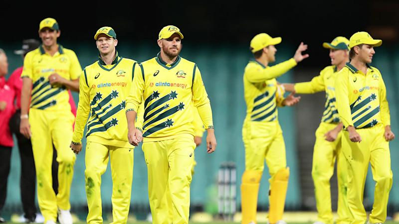 Seen here, Australia's players walk off after beating New Zealand in an ODI at the SCG.
