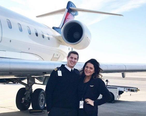 Jon Emerson and Lauren Gibbs work together for a commercial airline. Source: Lauren Gibbs