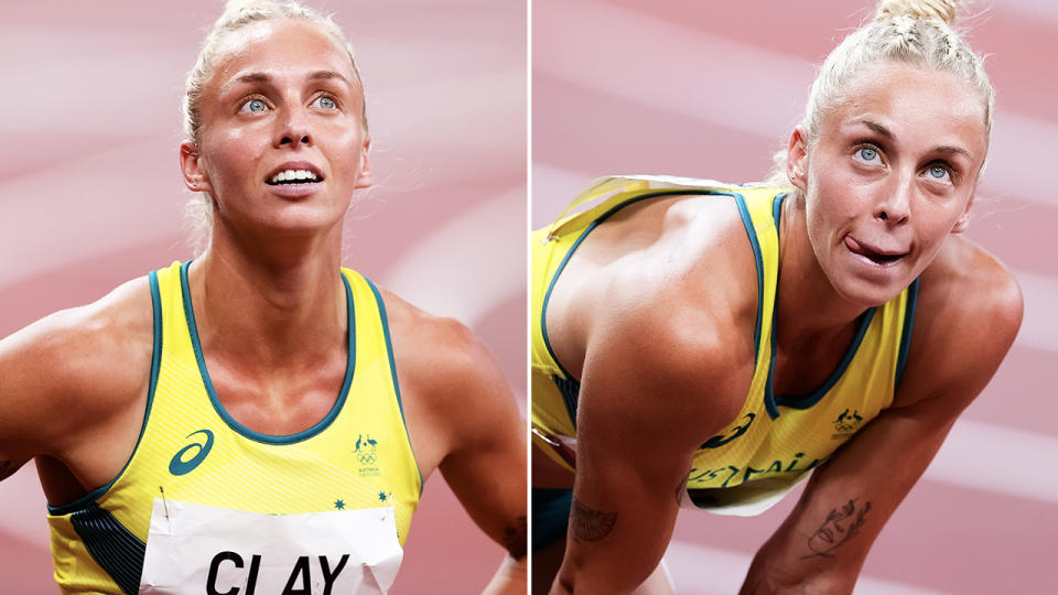 Liz Clay, pictured here after narrowly missing the 100m hurdles final at the Olympics.
