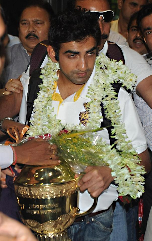 Kolkata Knight Riders captain Gautam Gambhir arrives at NSC Bose Airport in Kolkata on June 2, 2014. (Photo: IANS)