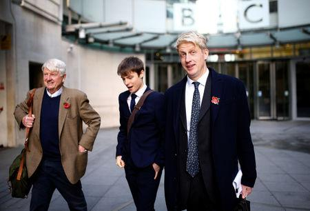 British Member of Parliament, Jo Johnson and his father Stanley Johnson, leave the BBC's Broadcasting House, in London, Britain November 10, 2018. REUTERS/Henry Nicholls