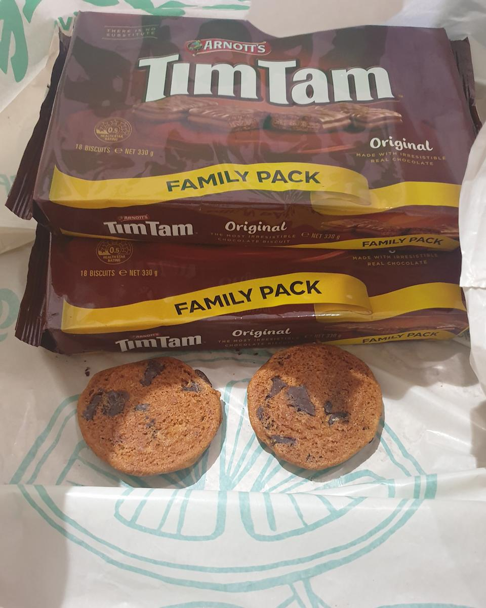 A Woolworths customer received two single cookies in the bottom of a shopping bag, with no packaging.