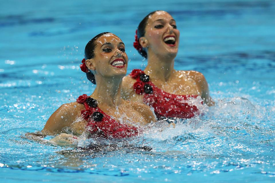 LONDON, ENGLAND - AUGUST 07: Ballestero Carbonell and Andrea Fuentes Fache of Spain compete in the Women's Duets Synchronised Swimming Free Routine Final on Day 11 of the London 2012 Olympic Games at the Aquatics Centre on August 7, 2012 in London, England. (Photo by Clive Rose/Getty Images)