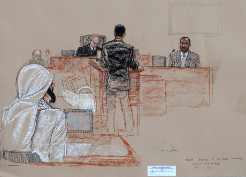 In this pool photo of a sketch by courtroom artist Janet Hamlin and reviewed by the U.S. Department of Defense, U.S. federal agent Stephen McClain, far right, with the Criminal Investigative Task Force of the Department of Defense, testifies about his 2007 interrogation of detainee Mustafa al-Hawsawi, seen at left wearing a neck brace, during the pretrial hearings at the Guantanamo Bay U.S. Naval Base in Cuba, Monday, Aug. 19, 2013. Five Guantanamo Bay prisoners accused of helping orchestrate the Sept. 11 terrorist attacks returned to court Monday as arguments resumed. Lawyers for the five prisoners, who face charges that include murder and terrorism, began to challenge the statements made by U.S. federal agents such as McClain and James Fitzgerald of the FBI, who defended their interrogation of al-Hawsawi. (AP Photo/Janet Hamlin, Pool)