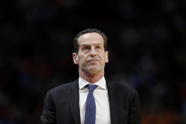 Kenny Atkinson was in his fourth season as the head coach of the Brooklyn Nets before Saturday's parting of ways. (Michael Reaves/Getty Images)
