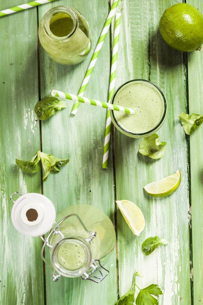 """<p>Beer isn't the only thing that can be green for St. Paddy's Day! You can make some delicious (and kid-friendly) drinks that are just as festive, like green limeade or a healthy green smoothie.</p><p><strong>RELATED: </strong><a href=""""https://www.goodhousekeeping.com/holidays/g3264/green-drinks/"""" rel=""""nofollow noopener"""" target=""""_blank"""" data-ylk=""""slk:20 St. Patrick's Day Drinks That Go Way Beyond Green Beer"""" class=""""link rapid-noclick-resp"""">20 St. Patrick's Day Drinks That Go Way Beyond Green Beer</a></p>"""