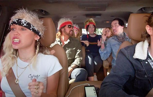The Cyrus family jam it out in the latest episode of Carpool Karaoke. Source: Apple