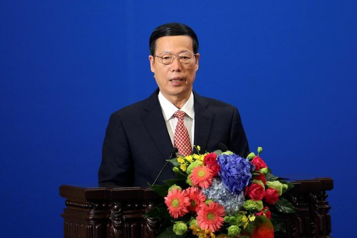 Chinese Vice-Premier Zhang Gaoli makes a speech during the Philippines - China Trade and Investment Forum at the Great Hall of the People in Beijing