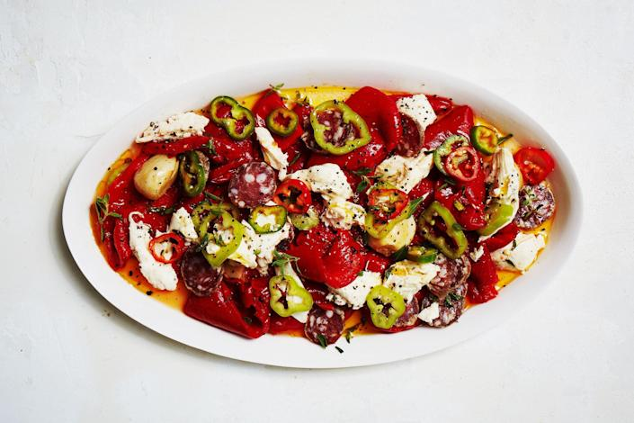 """Once you get hooked on fresh chiles, you'll want to pack them into everything you cook—including your antipasto. <a href=""""https://www.bonappetit.com/recipe/sweet-and-spicy-antipasto-salad?mbid=synd_yahoo_rss"""" rel=""""nofollow noopener"""" target=""""_blank"""" data-ylk=""""slk:See recipe."""" class=""""link rapid-noclick-resp"""">See recipe.</a>"""