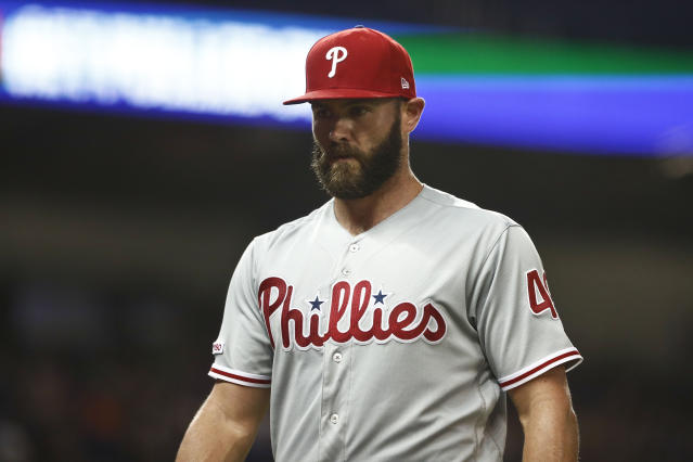 Philadelphia Phillies starting pitcher Jake Arrieta walks off the field after the seventh inning of the team's baseball game against the Miami Marlins on Friday, April 12, 2019, in Miami. (AP Photo/Brynn Anderson)