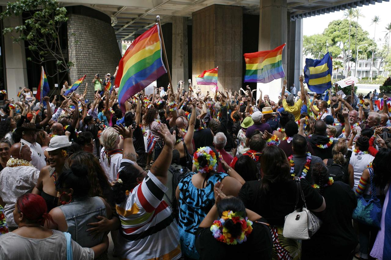 Supporters of same-sex marriage celebrate after the Hawaii State Senate approved a bill allowing same-sex marriage to be legal in the state of Hawaii, in Honolulu November 12, 2013. The Hawaii Senate gave final legislative approval on Tuesday to a bill extending marriage rights to same-sex couples in a state long popular as a wedding and honeymoon destination and regarded as a pioneer in advancing the cause of gay matrimony. Governor Neil Abercrombie has indicated he would swiftly sign the legislation into law, making Hawaii the 15th U.S. state to legalize marriage for gay and lesbian couples. REUTERS/Hugh Gentry (UNITED STATES - Tags: POLITICS SOCIETY)