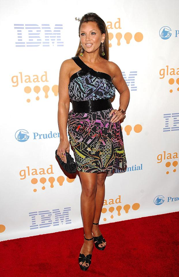 """""""Ugly Betty"""" vixen Vanessa Williams wowed the crowd in a fun and flirty Matthew Williamson multi-colored silk sensation at this year's GLAAD Media Awards. Rob Loud/<a href=""""http://www.gettyimages.com/"""" target=""""new"""">GettyImages.com</a> - March 28, 2009"""