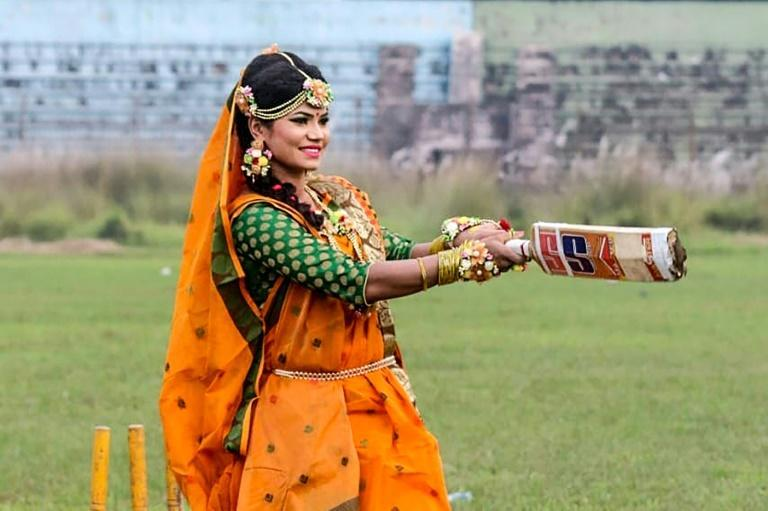 Bangladesh cricket star Sanjida Islam hits out after posing for photos with a bat while wearing a traditional wedding dress