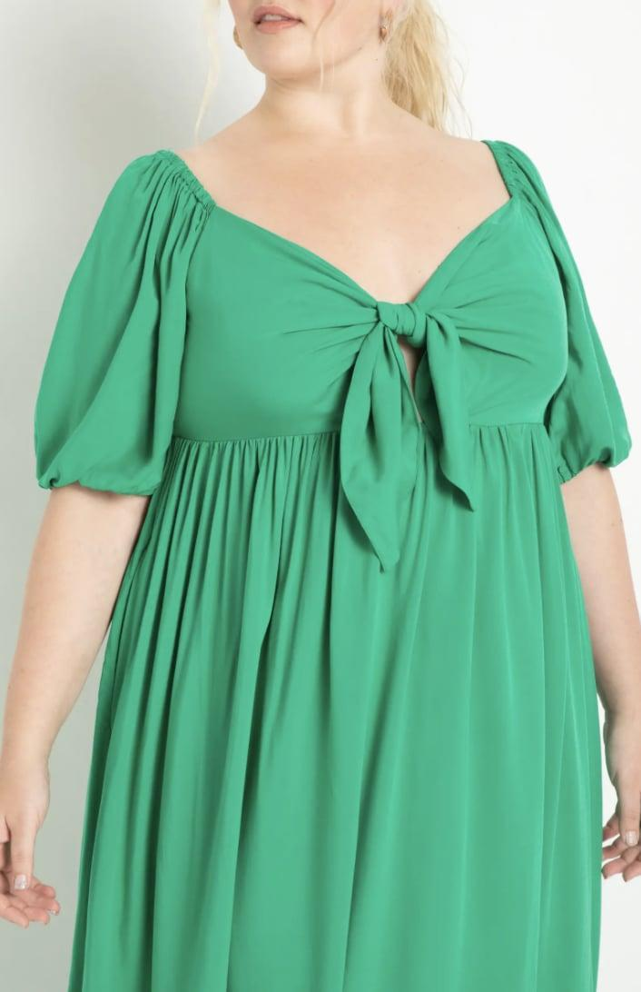 <p>The color of this <span>Eloquii Tie Front Maxi Dress</span> ($84, originally $119) makes it fresh and fun. We also love the breezy silhouette.</p>