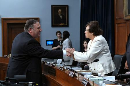 U.S. Secretary of State Mike Pompeo greets House Appropriations Subcommittee Chairwoman Nita Lowey (D-NY) after testifying at a hearing on the State Department's budget request for 2020 in Washington, D.C., U.S. March 27, 2019. REUTERS/Erin Scott