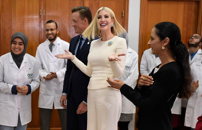 Ivanka Trump (2-R), daughter and advisor of US President Donald Trump, accompanied by Sean Cairncross (C), CEO of the Millennium Challenge Corporation, tours ISMALA, a Moroccan institute specialising in aeronautic industries and civil aviation logistics in the port city of Casablanca on November 8, 2019. (Photo by FADEL SENNA / AFP) (Photo by FADEL SENNA/AFP via Getty Images)