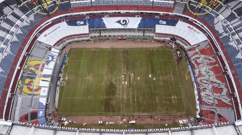 FILE - In this Tuesday, Nov. 13, 2018 file photo, Mexico's Azteca Stadium is seen from above in Mexico City. What some are calling the NFL's Game of the Year already has made huge headlines by being moved out of Mexico City because of poor playing conditions. Chiefs-Rams is back in Los Angeles. (AP Photo/Christian Palma, File)