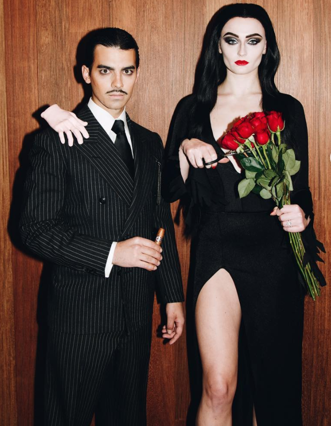 Sophie Turner and hubby Joe Jonas as Gomez and Morticia Addams