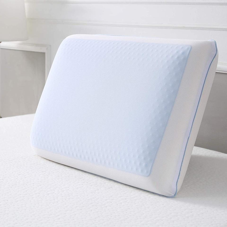 """It'sdesigned with a cooling gel layer so you'll always have a cool side to lay your head on.<br /><br /><strong>Promising review:</strong>""""I bought this pillow a few months ago because I was overheating in my upper level, poorly air-conditioned bedroom. I did find that it helped combat the muggy temps (about 80 degrees and very humid). It wasn't as dramatic as laying on an ice pack, but it made the situation tolerable for me, which is saying a lot because I loathe being hot at night. I have since moved to a much more pleasantly air-conditioned home and I still delight in this pillow. It goes from being okay to being pleasantly chilled. I hate not using blankets and the cooling effect is so good that I can cuddle up under a light comforter. I have only used the cooling gel side; it's very pleasant and gives the right amount of support and cushion. It is a very heavy pillow which could be a plus or minus based on your needs but for me it's perfect."""" — <a href=""""https://www.amazon.com/gp/customer-reviews/R3W0DETUD31FMQ?&linkCode=ll2&tag=huffpost-bfsyndication-20&linkId=39f7abe00ecb44758da0474aa7cca093&language=en_US&ref_=as_li_ss_tl"""" target=""""_blank"""" rel=""""noopener noreferrer"""">Sarah Anderson</a><br /><br /><strong><a href=""""https://www.amazon.com/dp/B00MGLOX40?&linkCode=ll1&tag=huffpost-bfsyndication-20&linkId=0bdbda721e682d3ea5ddf19c7b7454ea&language=en_US&ref_=as_li_ss_tl"""" target=""""_blank"""" rel=""""noopener noreferrer"""">Get it from Amazon for $33.</a></strong>"""