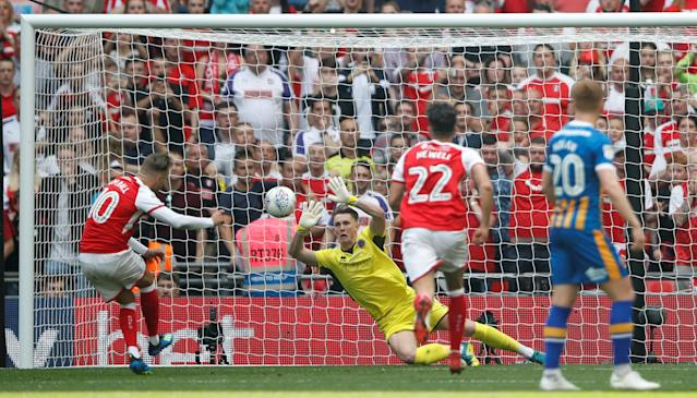 "Soccer Football - League One Play-Off Final - Rotherham United v Shrewsbury Town - Wembley Stadium, London, Britain - May 27, 2018 Rotherham's David Ball has a penalty saved by Shrewsbury Town's Dean Henderson Action Images/Carl Recine EDITORIAL USE ONLY. No use with unauthorized audio, video, data, fixture lists, club/league logos or ""live"" services. Online in-match use limited to 75 images, no video emulation. No use in betting, games or single club/league/player publications. Please contact your account representative for further details."