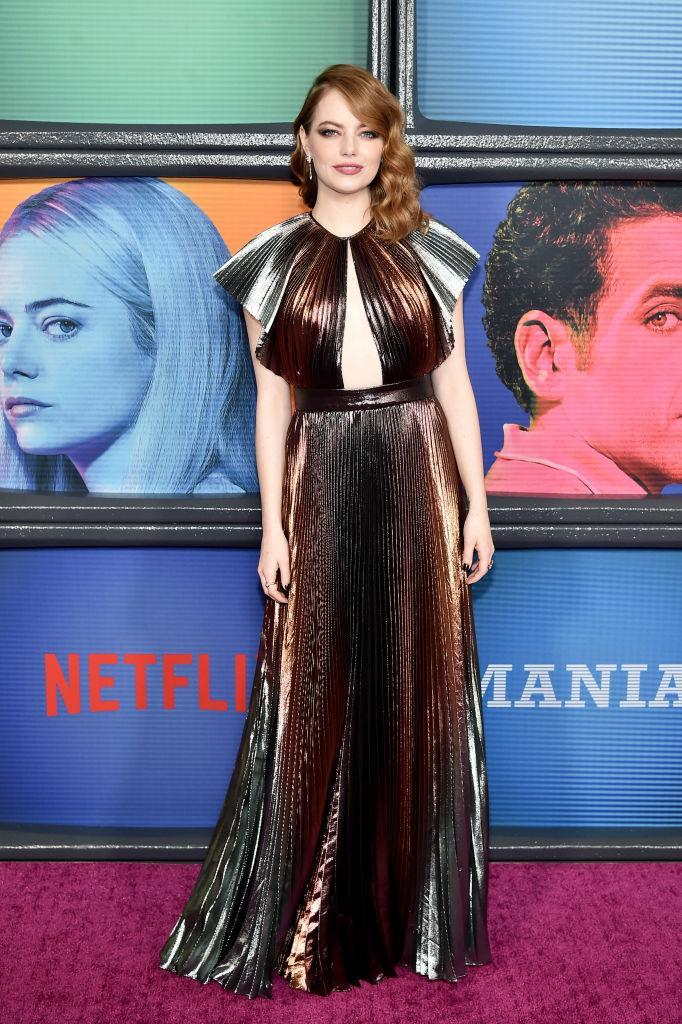 <p>Actress Emma Stone attended the New York premiere of 'Maniac' on September 20 in a glitzy gown by Givenchy. <em>[Photo: Getty]</em> </p>