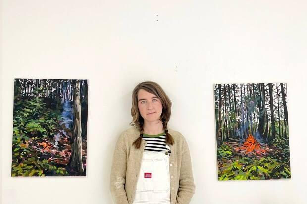 Liz Toohey-Wiese and her artwork are featured at the Caetani Centre in Vernon.  (Submitted by Liz Toohey-Wiese - image credit)
